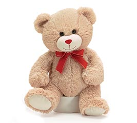 PLUSH TAN VALENTINE BEAR WITH RED BOW