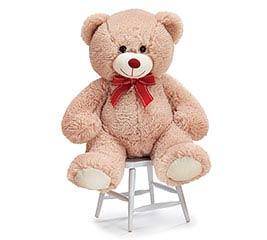 TAN PLUSH BEAR WITH RED BOW