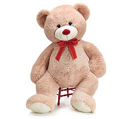 "26"" BEIGE BEAR WITH RED RIBBON BOW"