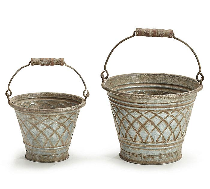 EMBOSSED GALVANIZED TIN NESTED PAIL SET