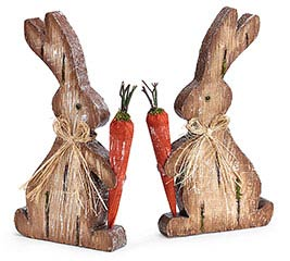NATURAL WOOD VENEER BUNNY DECOR