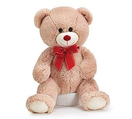 PLUSH BEIGE BEAR WITH RED BOW