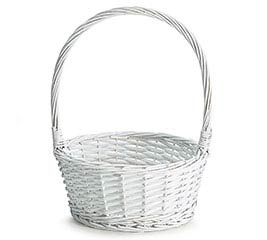 WHITE WICKER BASKET W/ HANDLE