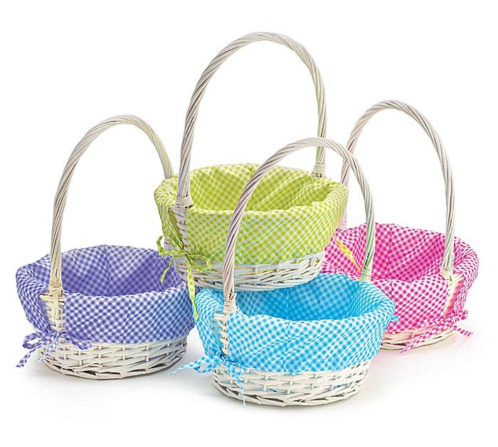 SPRING COLORED LINERS WILLOW BASKET SET