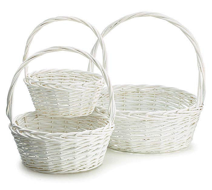WHITE WICKER BASKET W/ HANDLE SET