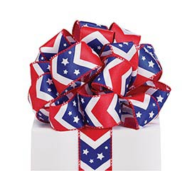 #9 PATRIOTIC CHEVRON WIRED SATIN RIBBON