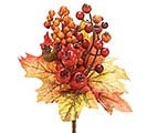 "10"" FALL LEAVES AND BERRIES SPRAY PICK"