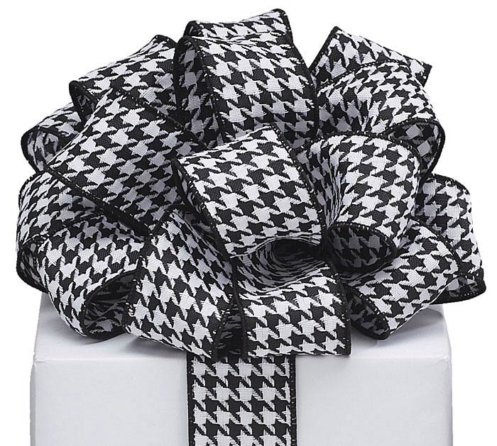 #9 BLACK/WHITE HOUNDSTOOTH WIRED RIBBON