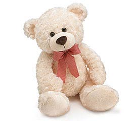 PLUSH CREAM BEAR WITH RED PLAID BOW