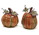 FALL PUMPKIN/METAL LEAVES PLANTER SET