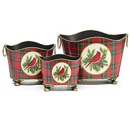 CHRISTMAS PLAID/CARDINAL TIN PLANTER SET