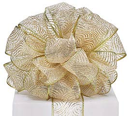 #40 GOLD GLITTER SHEER WIRED RIBBON