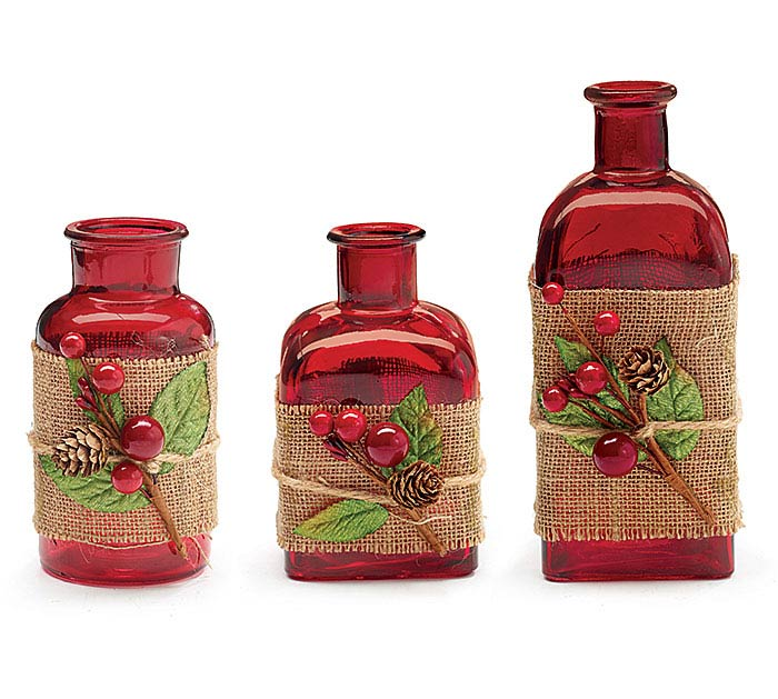 RED JAR SET WITH BERRY/BURLAP WRAP