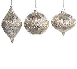 SILVER SEQUINE GLASS ORNAMENT SET