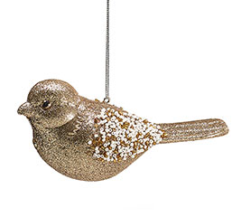GOLD GLITTERED/BEADED BIRD ORNAMENT