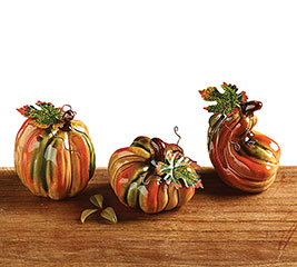 MINI CERAMIC PUMPKIN SET W/ METAL LEAVES