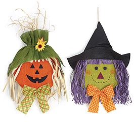 PUMPKIN/WITCH HEAD BURLAP WALL HANGING