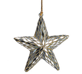 MIRRORED TILE AND GOLD STAR ORNAMENT