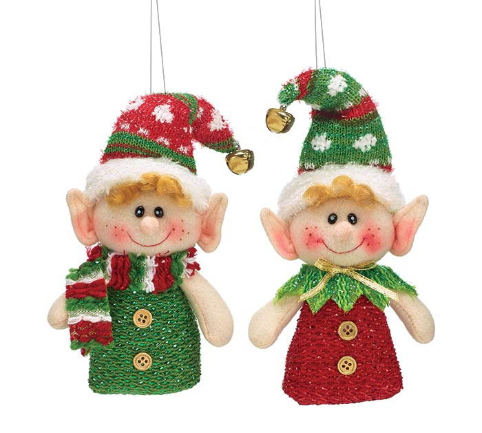 12 PIECE ELF ORNAMENT SET WITH BOX