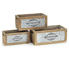 WOOD/TIN GARDEN MEDALLIAN PLANTER SET