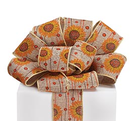 #40 SUNFLOWER NATURAL LINEN WIRED RIBBON