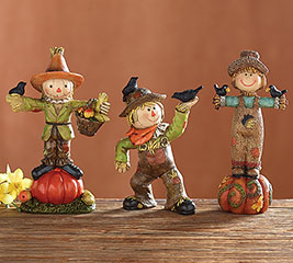 HAND PAINTED SCARECROW FIGURINE SET