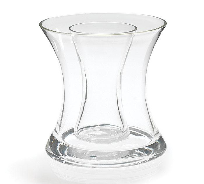 Double Glass Hourglass Vase