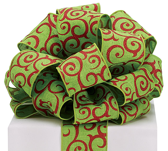 RIBBON #40 LIME GREEN LINEN RED SWIRLS