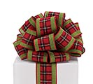 #40 GREEN AND PLAID WIRED RIBBON