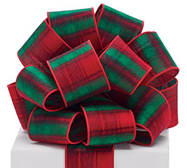 #40 RED PLAID REVERSIBLE WIRED RIBBON