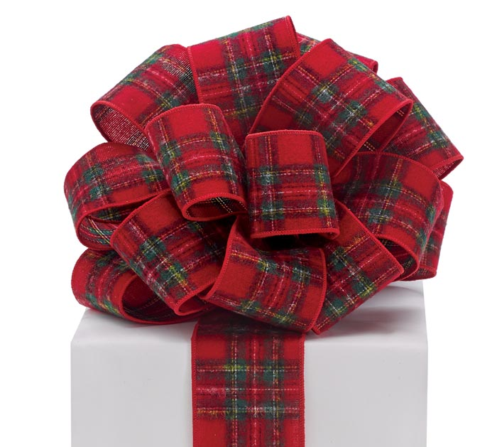 #40 RED PLAID REVERSABLE WIRED RIBBON