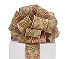 #40 PINE CONES/BERRY LINEN WIRED RIBBON