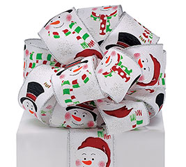 #40 SNOWMAN ON WHITE WIRED RIBBON