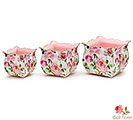 NESTED TIN ROSE GARDEN PLANTER SET