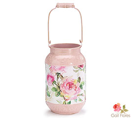 ROSE GARDEN TIN PAIL VASE