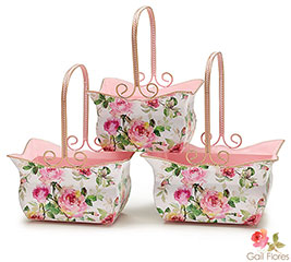 ROSE GARDEN TIN NESTED BASKET SET