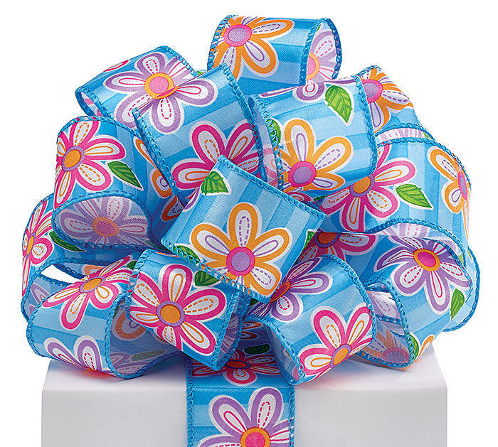 #9 FLOWERS ON BLUE WIRED SATIN RIBBON