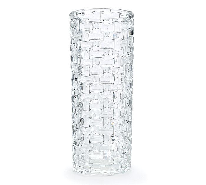 VASE GLASS WEAVE CLR