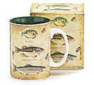 TRIO OF FISH CERAMIC MUG W/ BOX