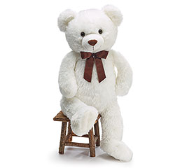 PLUSH WHITE BEAR WITH BROWN BOW