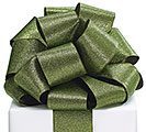 RIBBON #40 SAGE GREEN GLITTER