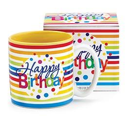 HAPPY BIRTHDAY STRIPES CERAMIC MUG W/BOX