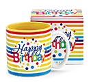HAPPY BIRTHDAY STRIPES CERAMIC MUG W/BOX