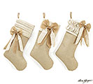 NATURAL BURLAP STOCKING SET