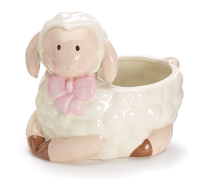 BABY GIRL CERAMIC LAMB PLANTER