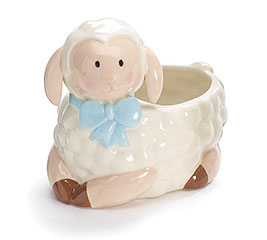 BABY BOY CERAMIC LAMB PLANTER