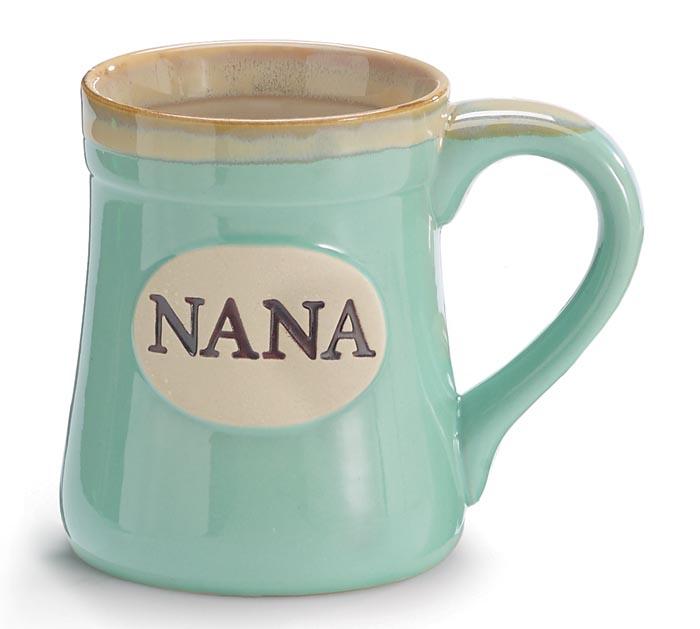 MINT GREEN NANA/MESSAGE PORCELAIN MUG