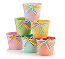 "4"" SPRING COLORS TIN POT COVER SET"
