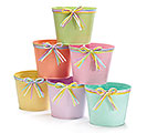 "6"" SPRING COLORS TIN POT COVER SET"