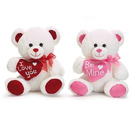 PLUSH WHITE /PINK OR RED VALENTINE BEAR